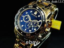 Invicta Men 48mm Pro Diver SCUBA Chronograph Black Dial 18k Gold Plated SS Watch