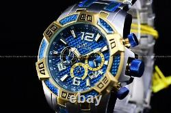 Invicta Men's 50mm Pro Diver Scuba Two Tone Blue Dial Gold Chronograph SS Watch