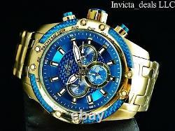 Invicta Men's 50mm SPEEDWAY SCUBA Chronograph Sapphire Blue Gold Tone SS Watch