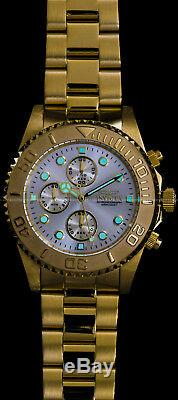 Invicta Mens Pro Diver Chronograph Champagne Dial 18K Gold Plated SS 200MT Watch