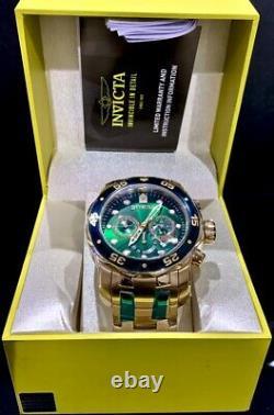 Invicta Mens Pro Diver Scuba Chronograph Green Dial 18K Gold Bracelet Watch 0075