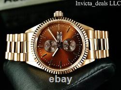 Invicta Mens Specialty JUBILEE Quartz BROWN DIAL Rose Tone Stainless Steel Watch