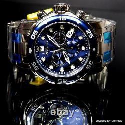 Invicta Pro Diver Scuba Blue Silver Tone Steel Band Chronograph 48mm Watch New