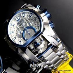 Invicta Reserve Bolt Zeus Magnum Swiss Steel Silver Blue 2 Dials 52mm Watch New