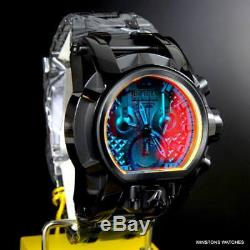 Invicta Reserve Magnum Bolt Tinted Crystal 52mm Dual Dial Black Steel Watch New