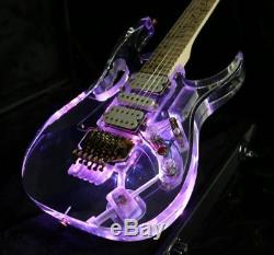 JEM Electric Guitar Crystal Acrylic Body with Coloful LED Light Can Control LED