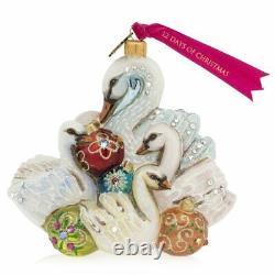 Jay Strongwater Seven Swans Swimming Glass Ornament #sdh2323-250 Brand Nib F/sh