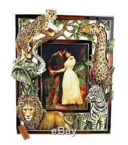 Jay Strongwater USA Jungle Scene 5x7 Frame Swarovski Crystals Brand New Box USA