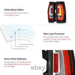 LATEST DESIGN 2007-2014 Chevy Tahoe GMC Yukon C-Shape Black LED Tail Lights