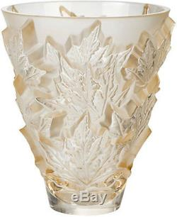 Lalique Champs Elysees Small Gold Luster Crystal Vase #10598500 Brand Nib F/sh