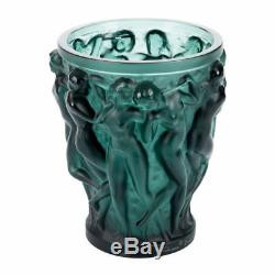 Lalique Crystal Bacchantes Deep Green Vase Small #10547700 Brand Nib Save$$ F/sh