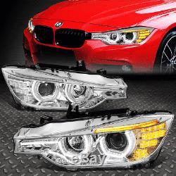 Led 3d Crystal U-halo+drlfor 2012-2016 Bmw 3-series F30 F31 Headlight Clear