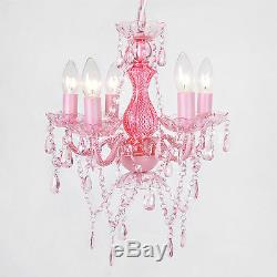 Love Pink Chandelier 5 Light Gorgeous Soft Gypsy Boho Crystals Ceiling Lamp New