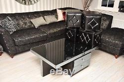 MODERN BLACK Coffee Table GLASS DRAWERS HIGH GLOSS STORAGE STOOL Living Room