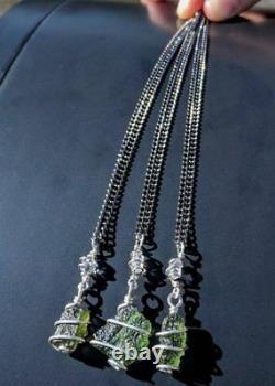 MOLDAVITE & HERKIMER DIAMOND Necklace. Tektite Crystal 925 Pendant Synergy 12