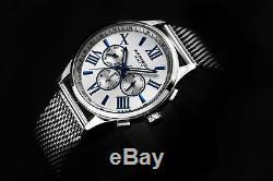 Men's Akribos XXIV AK844 Multifunction Day Date Stainless Steel Mesh Watch