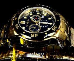 Men's Invicta Pro Diver Scuba Black Gold Plated Steel Chronograph 48mm Watch New