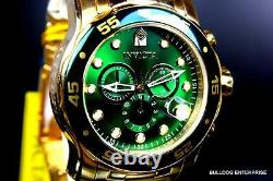 Mens Invicta Pro Diver Scuba 18kt Gold Plated Chronograph Green 48mm Watch New