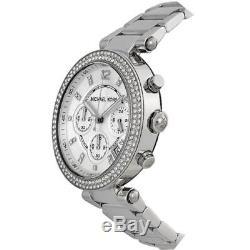 Michael Kors MK5353 Parker Silver Tone Chronograph Crystal Pave Wrist Watch