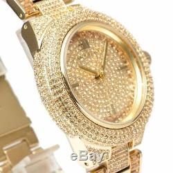 Michael Kors MK5720 Camille Crysta Pave Gold Tone Women Watch Brand New