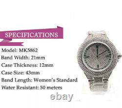 Michael Kors MK5869 Camille Crysta Pave Silver Tone Women Watch Brand New