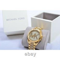 Michael Kors MK6487 Bradshaw Gold Tone Crystal Women's Wrist Watch Brand New