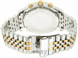 Michael Kors MK8344 Lexington Silver Gold Tone Chrono Men Watch Brand New