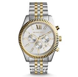 Michael Kors MK8344 Mens Lexington Silver Gold Two Tone Steel Quartz Wrist watch