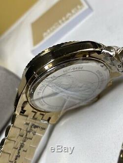 Michael Kors MK8494 Gold Tone Lexington Chrono Unisex Wrist Watch Brand New