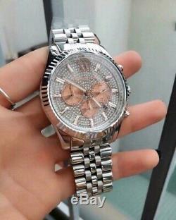 Michael Kors MK8515 Lexington Silver Rose Gold Pave Men's Watch Brand New