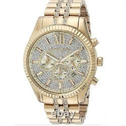 Michael Kors MK8579 Crystal Lexington Gold Tone Men Watch Brand New