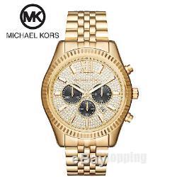 Michael Kors Men's MK8494 Lexington Chronograph Crystal Pave Dial Gold-Tone