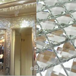 Mirror Tiles Silver Bathroom Wall Sheets Crystal Diamond Mosaic Tile Deco(11PCS)