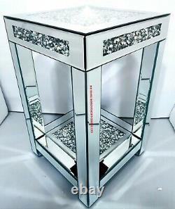 Mirrored End Table Side Sparkly Silver Diamond Crush Crystal 35x35x56cm Living