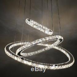 Modern 3-Ring Circle Ceiling Chandelier LED Crystal Pendant Light White HOME MY