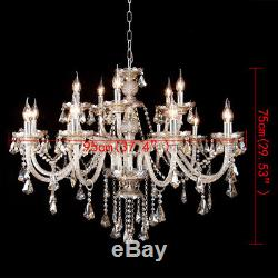 Modern Crystal Ceiling Lighting Chandelier 15 Light Lamp Pendant Fixture Cognac