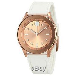 Movado Women's Watch Bold Quartz Rose Gold Dial White Rubber Strap 3600411