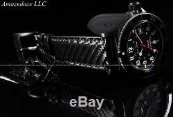 NEW Glycine 42mm Combat Sub 48 Swiss Made Auto Sapphire Crystal CF Leather Watch