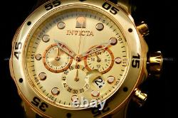 NEW Invicta Men Scuba Pro Diver Chrono 18K Gold Plated Rose Gold S. S Poly Watch