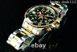 NEW Invicta Men's 45mm PILOT Specialty Chrono Black Dial 18K Gold 2Tone SS Watch