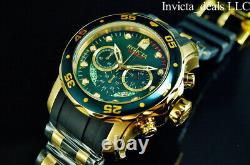 NEW Invicta Men's 48mm PRO DIVER SCUBA Chronograph GREEN DIAL Gold Tone SS Watch