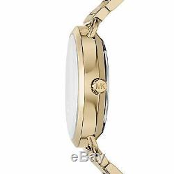 NEW MICHAEL KORS MK3794 Portia Black Crystal Pave Dial Ladies Gold Tone Watch