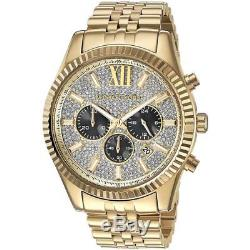NEW Michael Kors Men's MK8494 Lexington Chrono Crystal Pave Dial Gold-Tone Watch