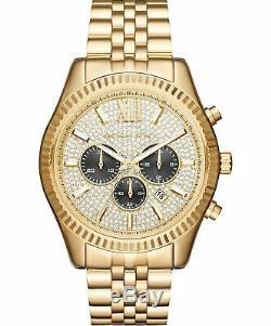 NEW Michael Kors Watch MK8494 Men's Lexington Chronograph Crystal Gold-Tone