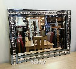 NEW Modern Art Deco Acrylic Crystal Glass Design Bevelled Mirror 120x80cm Smoked