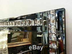 NEW Modern Art Deco Acrylic Crystal Glass Design Bevelled Mirror 120x80cm Smoked