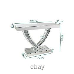 Narrow Mirrored Hall Console Table with Crushed Crystal Finish Jade Boutique