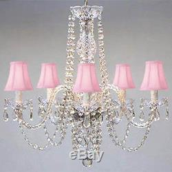 New! AUTHENTIC ALL CRYSTAL CHANDELIER LIGHTING CHANDELIERS WITH PINK SHADES