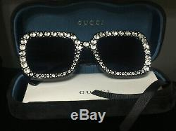 New Authentic GUCCI Sunglasses GG148S 003 Black Oversized Square Crystal
