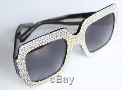 New Authentic Gucci GG 0048S 003 Black Crystal Oversize Squared Frame Sunglasses